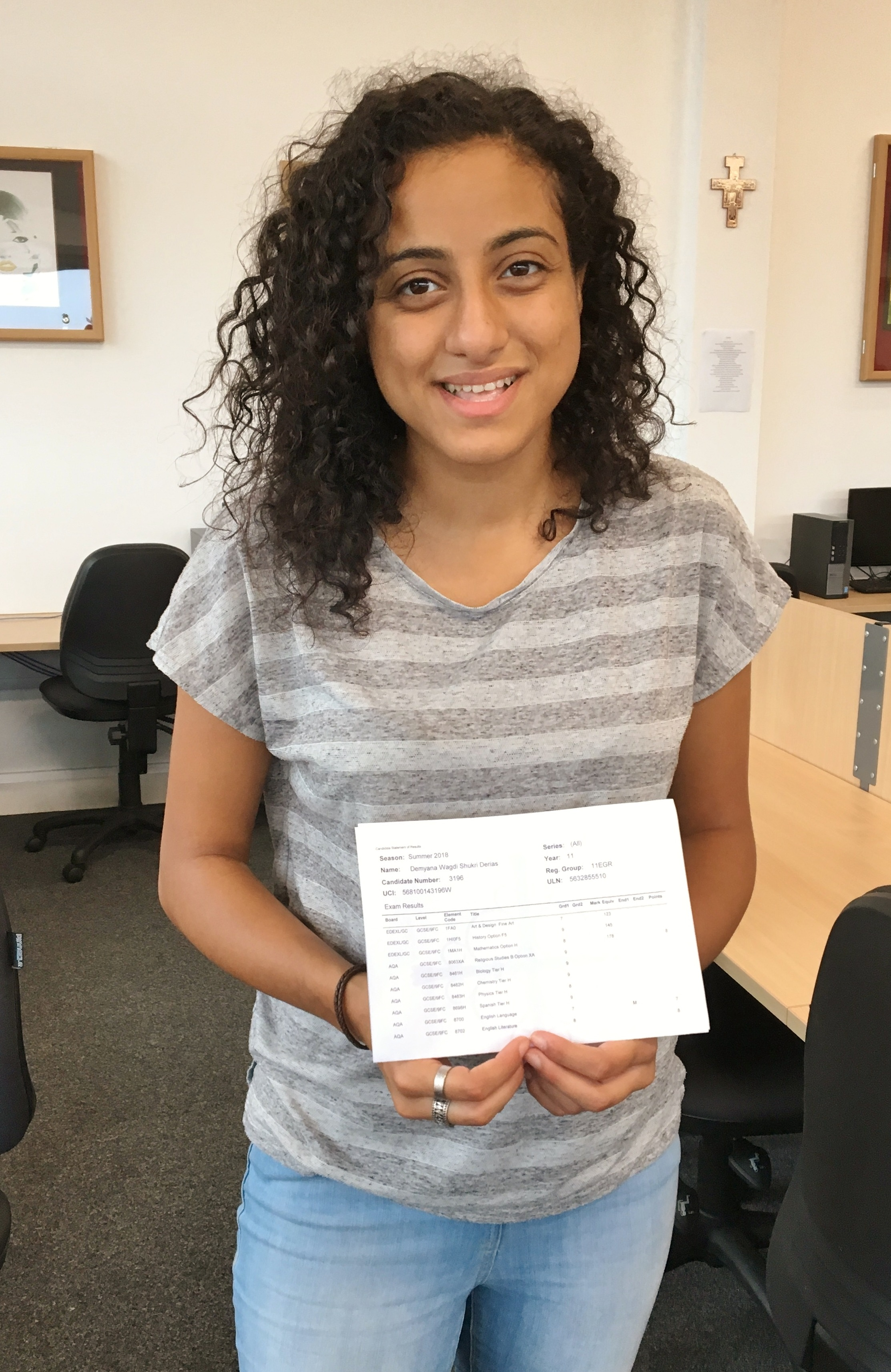 Demy Derias - 10 GCSEs, five at Grade 9, three at Grade 8 and two at Grade 7