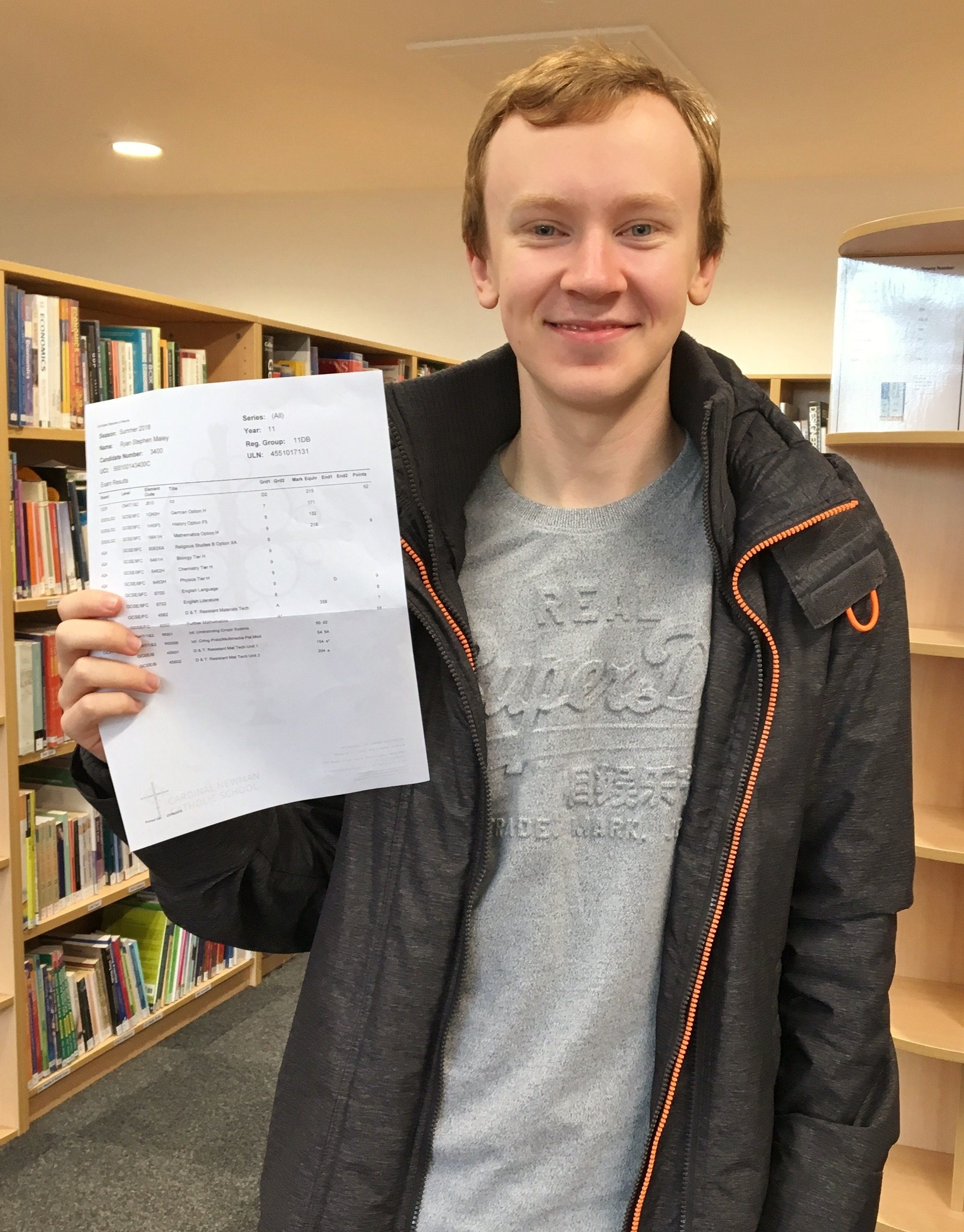 Ryan MAley - 11 GCSEs, five at Grade 9, three at Grade 8, one at Grade 7, an A* and an A